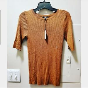 Camel Ribbed Short sleeve Sweater